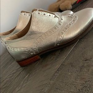 Brand new silver oxfords